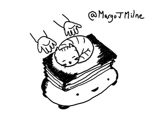 a pair of human hands depositing a sleeping, stripy cat atop a flat platform that is being raised on a bellows-like extender, emerging from the top of a wide,  low rounded robot with four small wheels and a happy face
