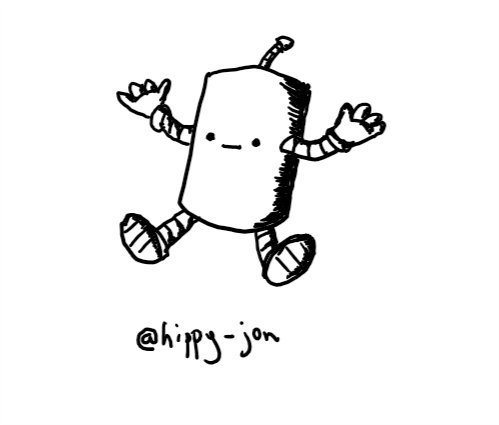 a cylindrical robot sitting on the ground and shrugging with a neutral expression on its face.