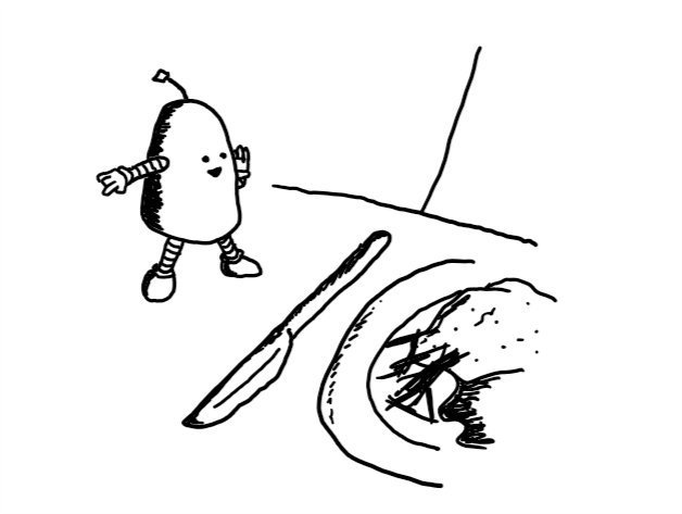 a small cylindrical robot with a rounded top and banded arms and legs standing on a table next to a knife and a plate of food, pointing offscreen with its other hand raised to its mouth as if whispering conspiratorially.