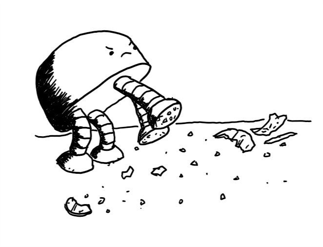 a wide, dome-shaped robot with four thick banded legs with round feet that have shards of glass on the bottom. There is broken glass all over the floor around it and it has an angry little face as it stomps towards the next bit.