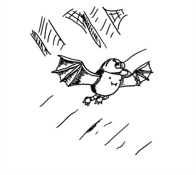 an ovoid robot with bat-like wings, little clawed feet and a hardhat with miners' lap  flying through a darkened attic. It's smiling and has little vampire fangs.