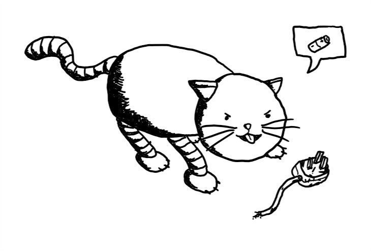 A robot cat making a slightly menacing face as it presents a torn wire with a plug on the end. It has a speech bubble with a picture of a battery in it.