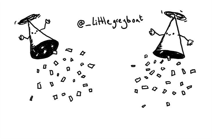 Two apparently-hollow conical robots, with propellers on their pointed ends holding them aloft as confetti rains from each of their open bases. Both robots have smiley faces and are happily waving their little arms in the air.