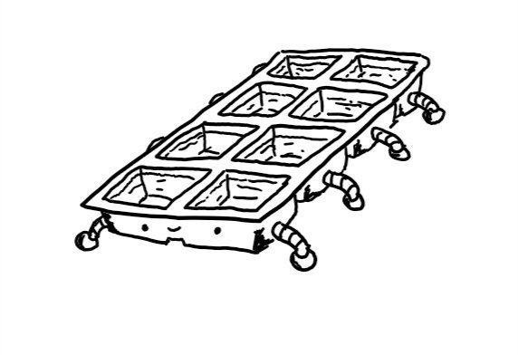 A robot in the form of a rectangular ice cube tray with a happy face on one of the short ends and little legs on each compartment along the sides.