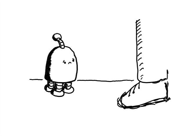 A little round-topped robot with four little legs, a small antenna and a sad face stands in front of someone.