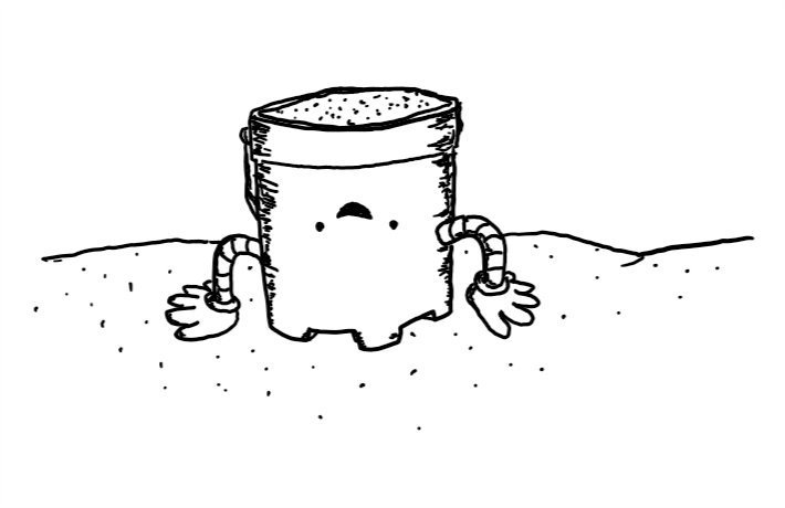 A happy robot castle-shaped bucket filled with sand on a beach. It's upside-down, with its hands pressed on the ground, about to flip itself over to make a sand castle.