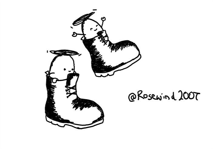 Two ovoid robots, each sitting in one of a pair of boots. They have little arms and propellers on top. One is holding the edge of its boot as it lands on the ground, while the other's boot is in mid-air and it has its arms up and a joyous expression on its face.