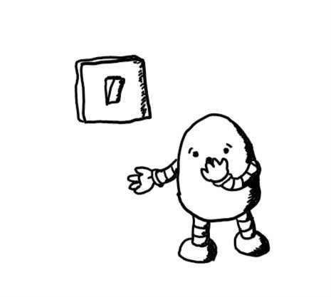 An ovoid robot standing next to a light switch in the 'on' position, holding a hand over its mouth as it makes a horrified expression.