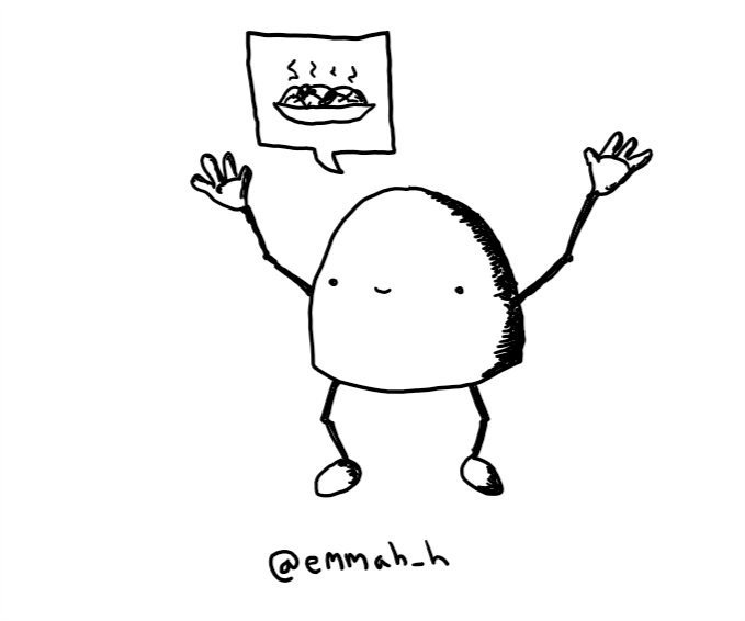 A dome-shaped robot with jointed arms and legs, holding up its hands with a big smile. It has a speech bubble with a bowl of steaming food in it.