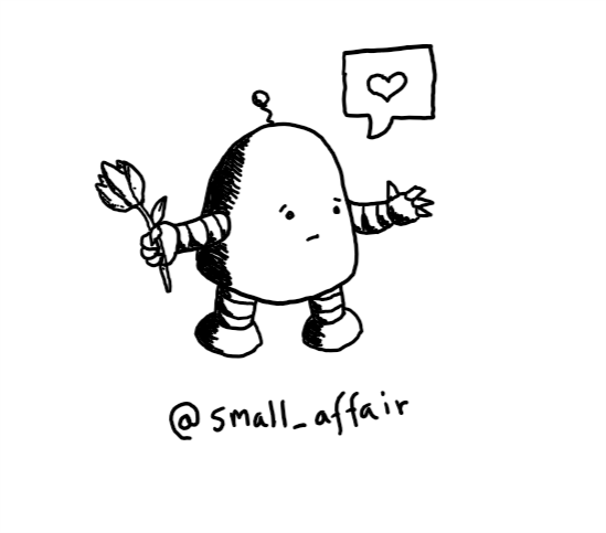A robot with a rounded top and a little antenna bringing a tulip and holding out a hand as it makes an expression of sympathy and understanding. It has a speech bubble with a heart in it.