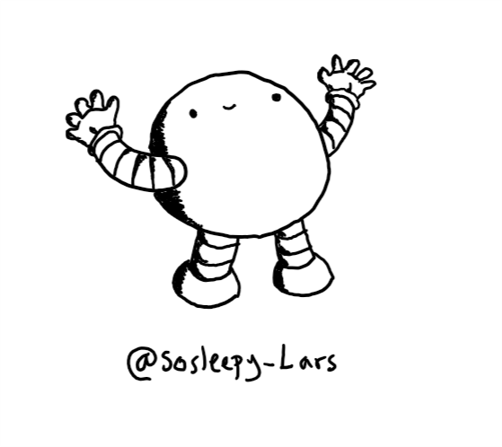A spherical robot with thick, banded arms and legs. It stands on the ground with its arms stretched wide, looking upwards with a smiley face near the top of its body.