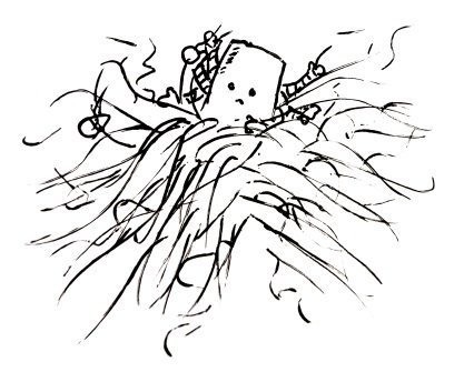 A multi-armed robot is stranded amongst a mess of hair. Looks decidedly worried.