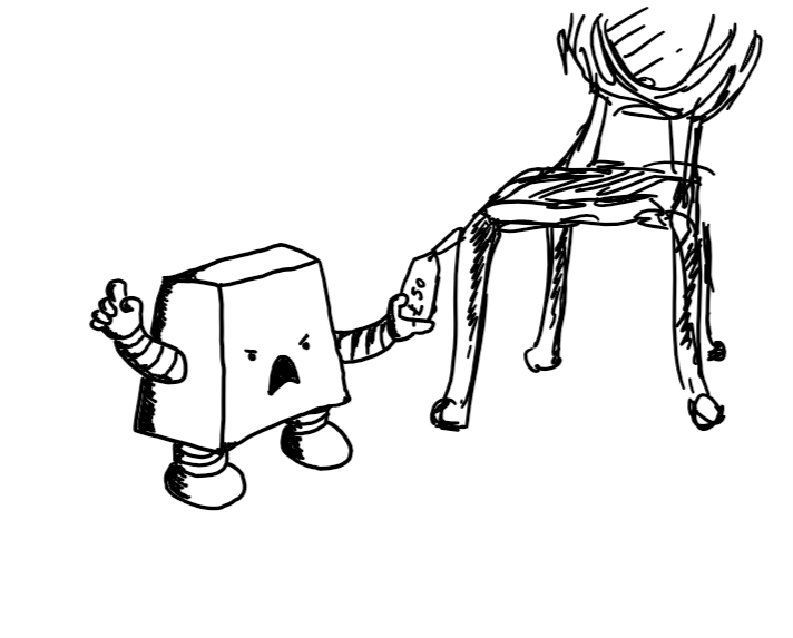 A flattish trapezoid robot with an angry, yelling face, holding a price tag labelled £50 that is attached to an antique dining chair.