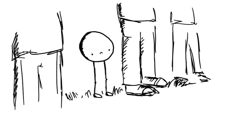 A spherical robot on two long, thin, jointed legs and with no arms standing on some grass in a row of people. It has a glum expression on its face.