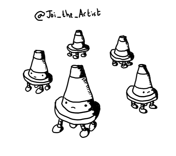 Five robots in the form of little traffic cones, each with four small legs on their undersides. They have serious expressions on their faces.