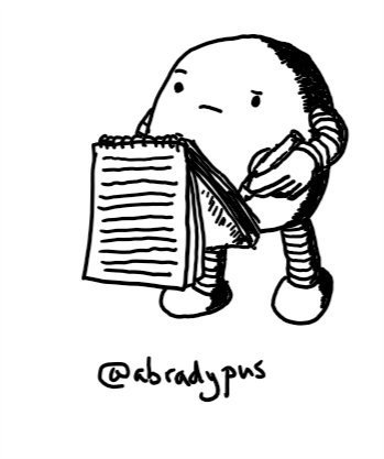A round robot with a thoughtful expression writing in a small notebook.