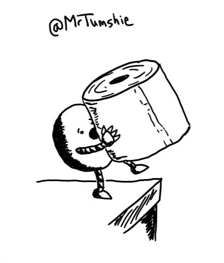 A round robot standing on a counter with an alarmed expression on its face as it opens its mouth to call out. It is holding up a toilet roll larger than itself and overbalancing slightly in its haste.