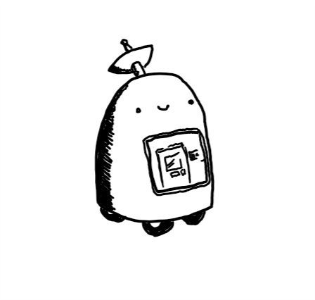 An oblong robot with a curved top that has a little satellite dish poking out of it and four small wheels on its underside. Below its smiling face on its front is a square screen showing a view of a front door.