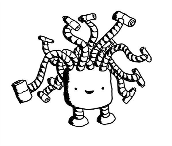 A squat, cylindrical robot with two short legs and multiple banded cords sprouting from its top, waving and curling in all directions. The cords are tipped by battery-shaped connectors of various sizes, attached perpendicularly. The robot seems very pleased with itself.