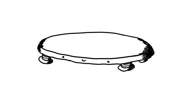 A disc-shaped robot with a happy face on its edge and four little banded legs on its underside.