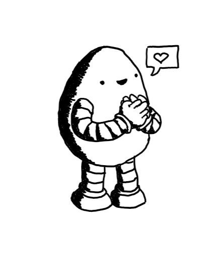 An egg-shaped robot making the BSL sign for love as it smiles. A speech bubble is coming from its mouth with a heart in it.