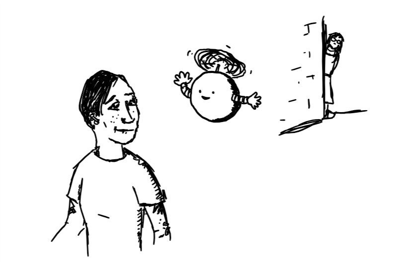 A spherical robot held aloft by a propeller on its top with little arms hovers beside a person walking by who is looking up at it with interest. In the background, another person peeks out nervously from around a corner
