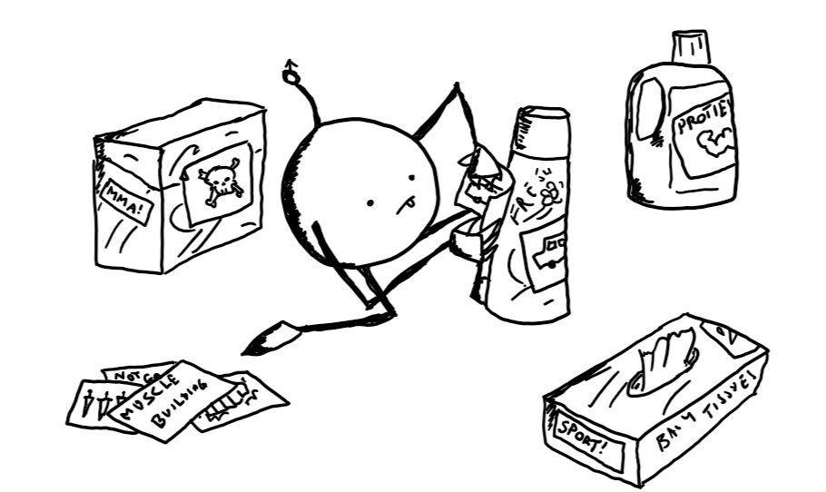 A round robot with slim, jointed limbs and an antenna tipped with a 'male' symbol kneeling beside a can of air freshener and applying a sticker of a picture of a car to it. It already has another similar sticker attached. Around the robot are cleaning products and tissues that have stickers saying things like 'SPORT!', 'MMA!' and 'PROTEIN' or skulls and knives on them.