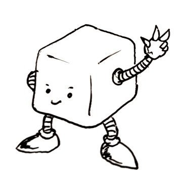 A happy cuboid robot with nice pointy shoes holds up a hand with 3 fingers extended.