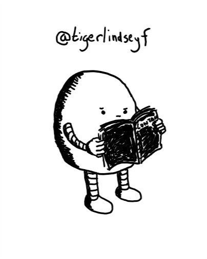 An ovoid robot with a flat underside thoughtfully reading a little black book that says 'CONTACTS' on the front.