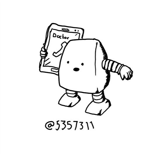 A wedge-shaped robot talking into a phone that's about the same size it is. The contact visible on the phone screen reads 'Doctor'.