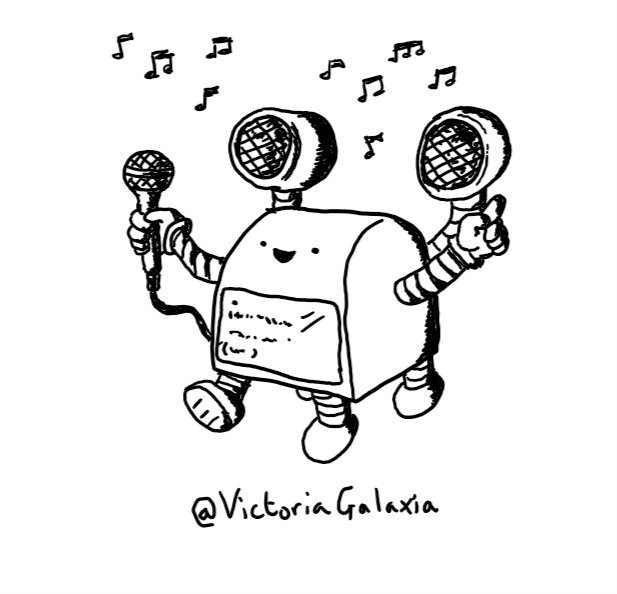 A boxy robot with a curved top and a screen showing lettering on its front below a very happy face. It has four stumpy, banded legs, one of which is thrown forward, mid-dance and two arms, one with a microphone plugged into itself and one pointing in the air. On the robot's back are two round speakers on limb-like connectors, surrounded by musical notes.
