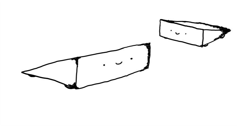 Two wide, wedge-shaped robots with wheels on the bottom and smiling faces on the front.