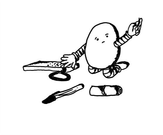 An ovoid robot kneeling beside some items: a lipstick, a pen, a hairband and a remote control. It is speculatively holding up a paperclip with a hopeful look on its face.