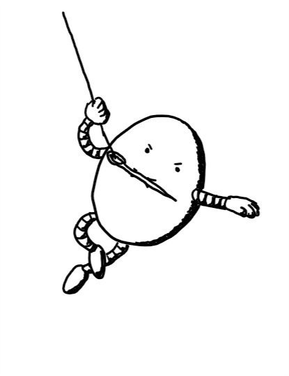 An ovoid robot with a determined expression, clutching a sewing needle lengthways in its mouth with thread looped on the end that its swinging from like it's in an action movie.