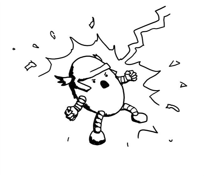 An ovoid robot wearing a winged helmet and standing in a wide-legged stance with its fists clenched, roaring in exultation as a lightning bolt strikes it.