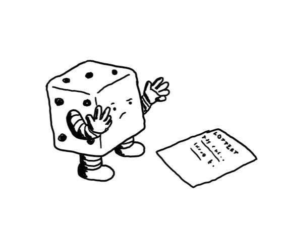 A robot dice, frowning down at a lottery ticket as it counts off on its fingers.