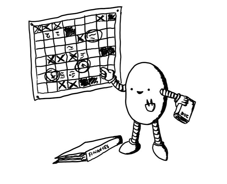 An elongated ovoid robot holding a diary in one hand while gesturing to a complicated-looking wall chart with the other. A folder labelled 'FINANCES' is on the floor next to it and it has a little breast pocket with two pens in it. It looks very cheerful.