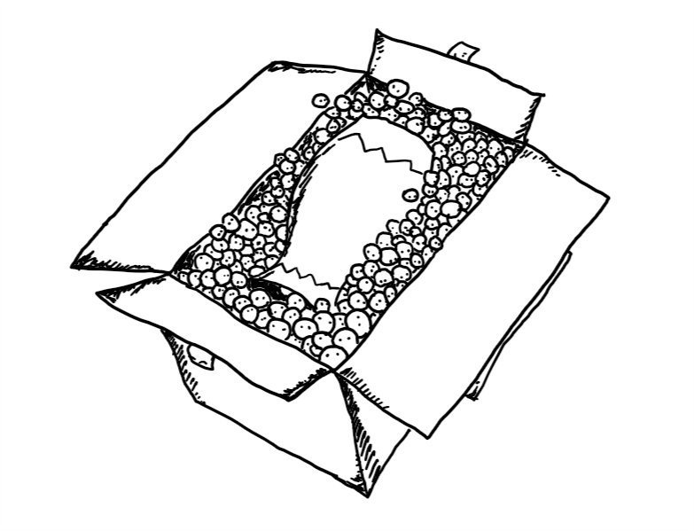 A cardboard box, open at the top and containing a vase lying on its side which is surrounded by hundreds of tiny, spherical robots packed tightly.