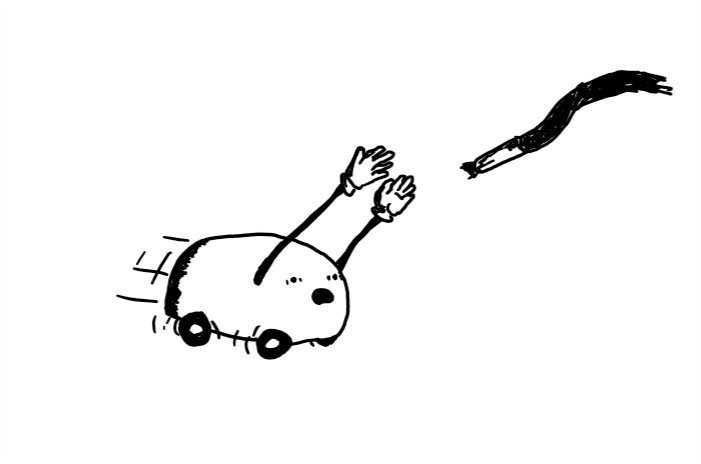 A loaf-shaped robot on four wheels with two long, jointed arms. It's zooming after the end of a trailing shoelace with its arms raised towards it and an alarmed expression on its face.