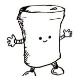 A takeaway coffee cup with arm, legs, and a happy little face.