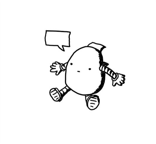 An ovoid robot with banded arms and legs, a blank expression and an open panel on its back. An empty speech bubble is coming from its mouth.
