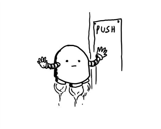 A domed robot held aloft by a set of small boosters on its underside, pushing against a door while holding up its other hand as if to keep someone back while it does its job.