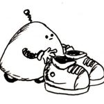 A rounded cone with wheels and arms places a pair of shoes on the floor.