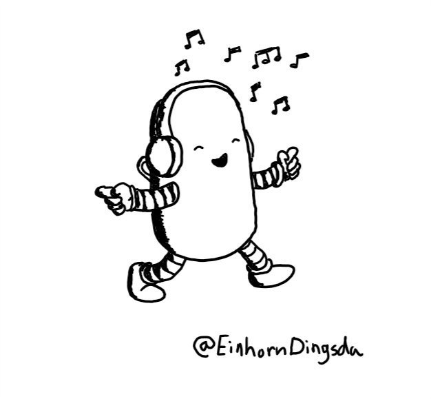 A rounded, cylindrical robot wearing a pair of headphones with musical notes surrounding them. It's dancing along with its eyes closed and a big smile on its face, pointing with both hands.