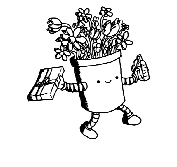 A robot in the form of a plant pot with arms and legs and a nice smiling face. In one hand it holds a wrapped, rectangular box and in the other a bottle of perfume. From its top sprouts a big bunch of flowers.