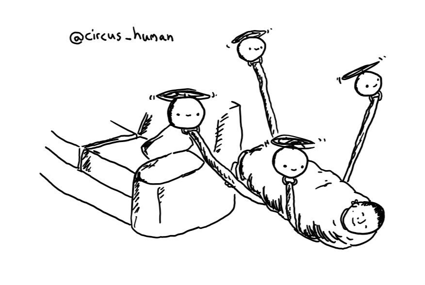 Four spherical robots with propellers on their tops carrying a sleeping, bundled up person away from a sofa using cables attached to their undersides to support the weight.