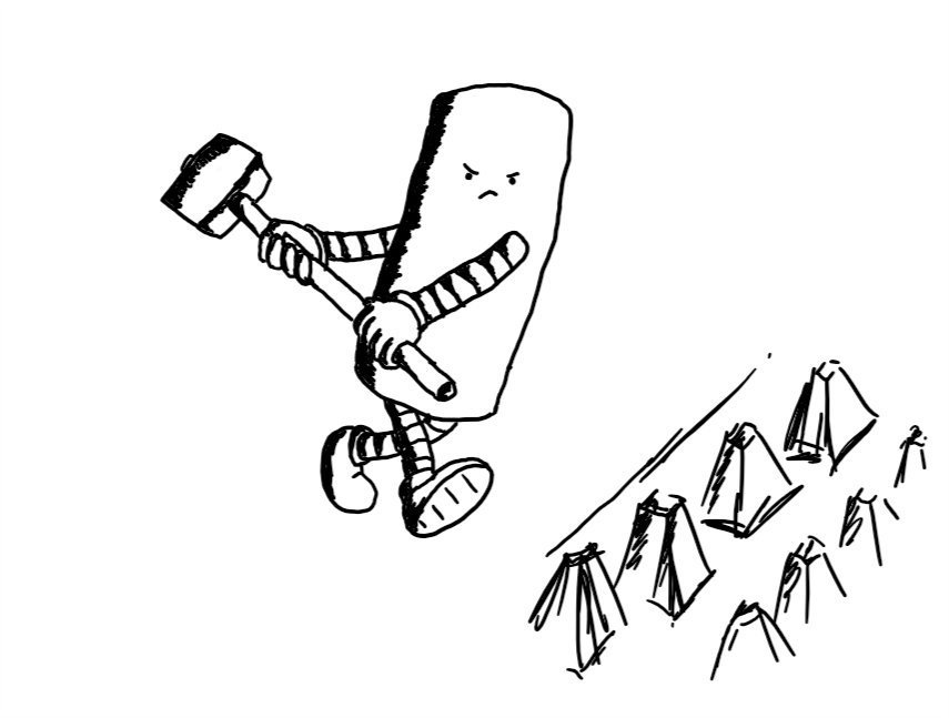 A tall, cylindrical robot angrily wielding a sledgehammer and advancing on a set of concrete spikes.