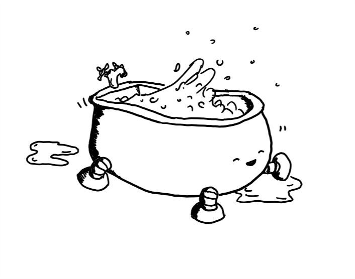 A robot in the form of a deep, free-standing bathtub with four short legs. Its face is at the end without the taps and it's smiling happily with its eyes closed as it dances along with one front leg raised. As a result, the water inside it is sloshing everywhere and there are puddles on the floor around it.