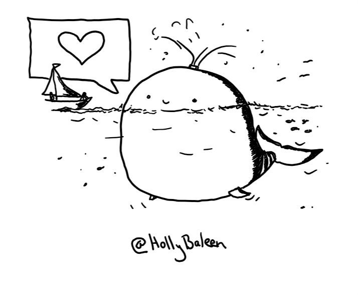 An enormous robot shaped like a cartoon whale, surfacing above the water next to a sailboat and spraying from its blowhole. It has a large speech bubble with a heart in it.