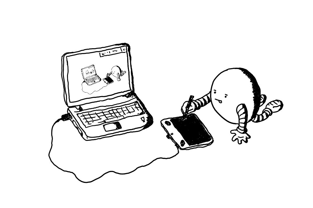 A round robot sprawled on the floor using an electronic drawing tablet plugged into a laptop. It has its tongue sticking out as it draws using the stylus. On the laptop screen is the exact same image, with a corresponding smaller version on that one's laptop screen and so on...